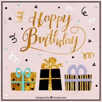 Birthday background with gifts and golden details