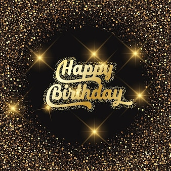 Birthday background with gold effect and lights