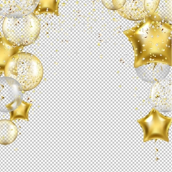 Birthday background with golden star balloons