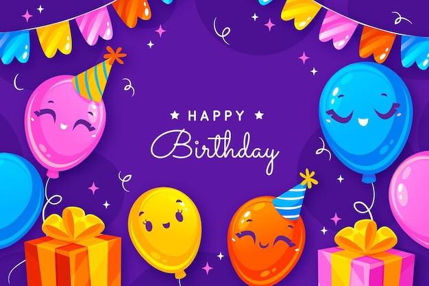 Birthday background with greeting and flat elements
