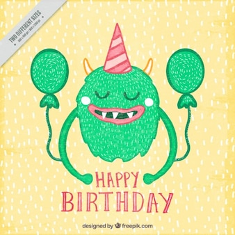 Birthday background with monster
