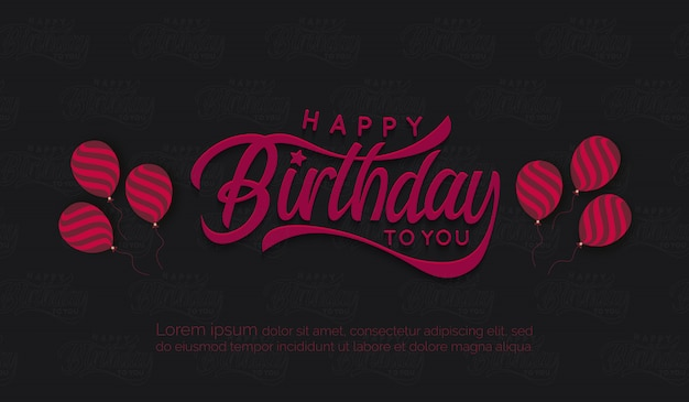 Birthday background with pink vintage letter