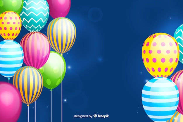 Birthday background with realistic balloons