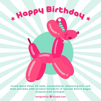 Birthday balloon background with puppy shape
