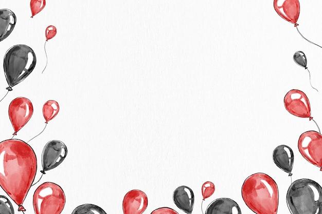 Birthday balloon border frame vector with design space