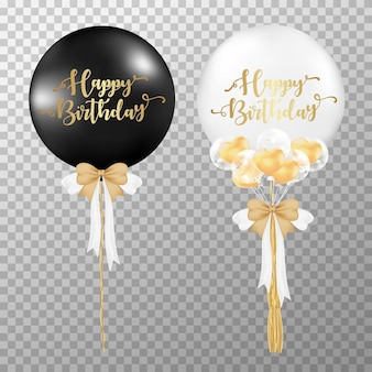 Birthday balloons on transparent background.