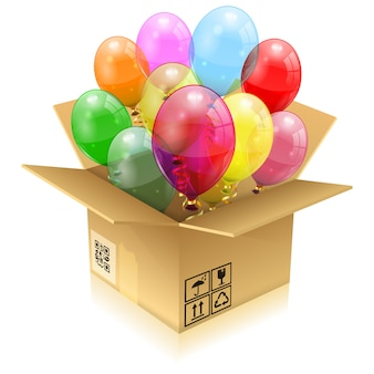 Birthday balloons with box
