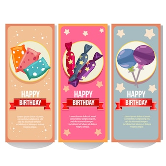 Birthday banner collection with candy collection