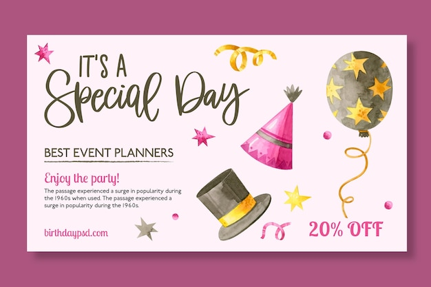 Birthday banner template with drawn elements