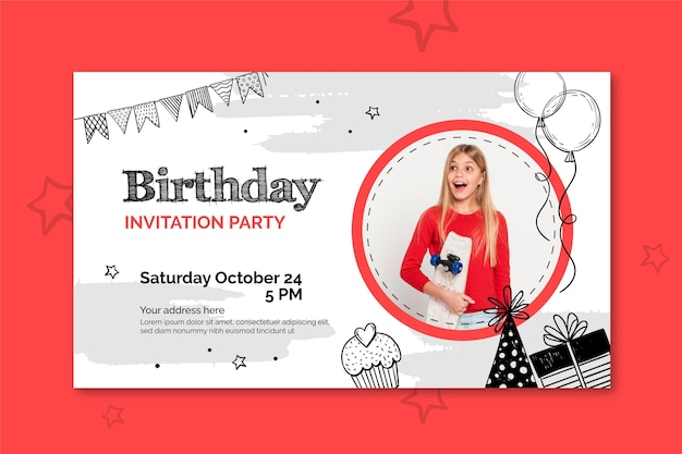 Birthday banner template with photo