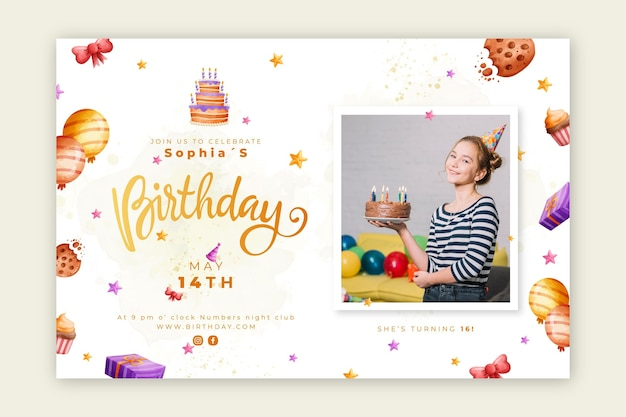 Birthday banner with cake