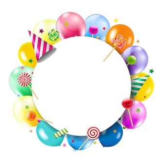 다채로운 풍선과 함께 생일 배너