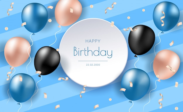 Birthday banner with realistic balloons. celebration birthday party invitation background with greetings and colorful balloons and birthday elements