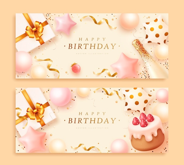Birthday banners set with realistic cake and gift box
