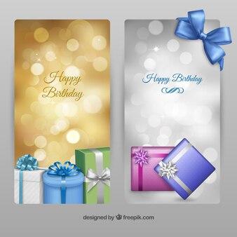 Birthday banners Premium Vector