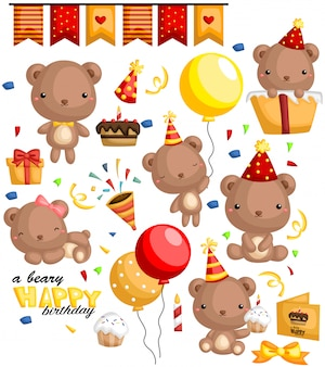 Birthday bear vector set