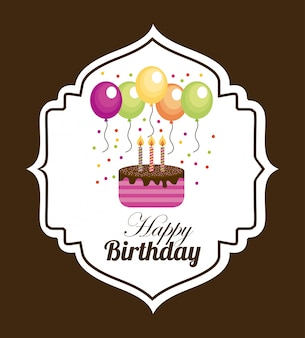 Birthday over brown background
