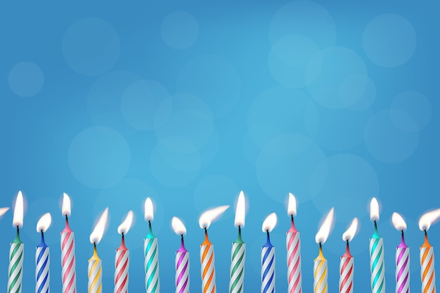 Birthday burning candles on blue background realistic template for invitation or gift card