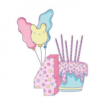 생일 케이크와 숫자와 풍선