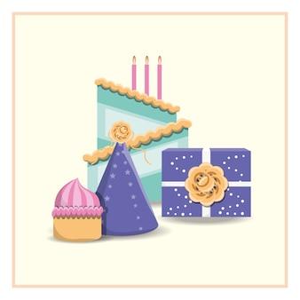 誕生日ケーキ、ギフトボックス、パーティー、帽子、マフィン、白、背景