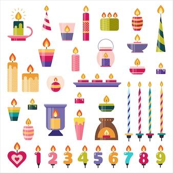 생일 케이크와 휴일 촛불을 설정합니다. 불꽃이있는 숫자
