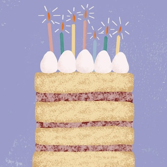 Фон торта ко дню рождения в фиолетовых тонах