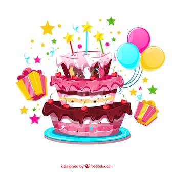 Birthday cake background with balloons and gifts