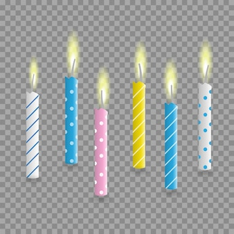 Birthday cake candles realistic set