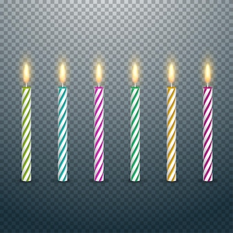 Birthday cake candles with burning flames isolated