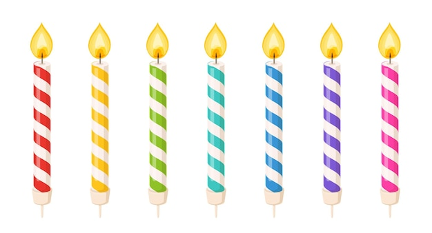 Birthday cake candles with fire flame and colored spiral strips. small wax sticks with burning wick isolated on white background. vector cartoon set of candles for holiday party