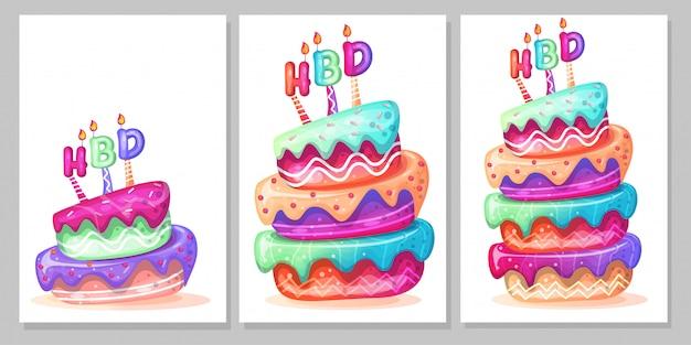 Birthday cake cartoon set