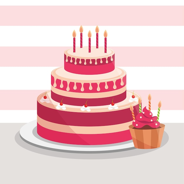 Birthday cake and cupcake with candles decoration  illustration