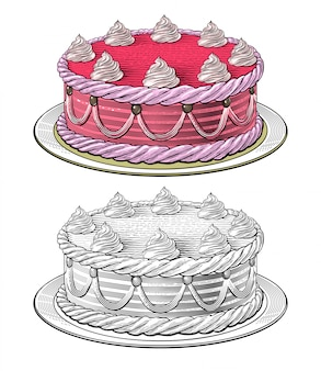 Birthday cake in engraving style
