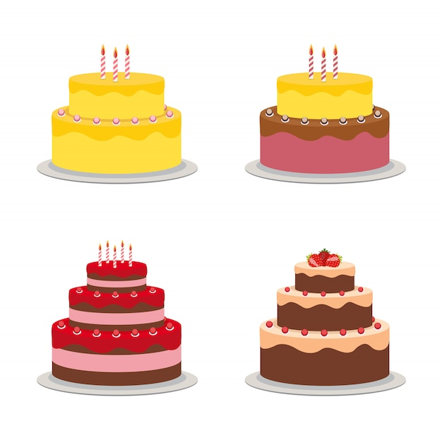 Birthday cake flat icon collection set