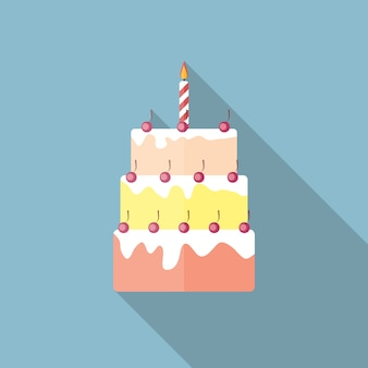 Birthday cake flat icon with long shadow,