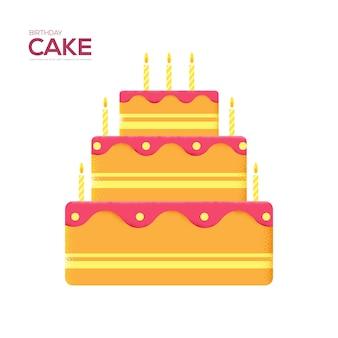 バースデーケーキのチラシ、雑誌、ポスター、本の表紙、バナー。木目テクスチャとノイズ効果。