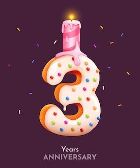 Birthday cake font number three