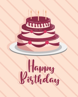 День рождения торт поздравительная открытка праздник вечеринка иллюстрация Premium векторы