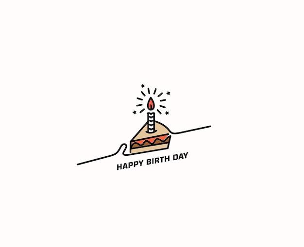 バースデーケーキのアイコンのベクトル図です。お誕生日おめでとう。キャンドルで誕生日のお祝いのためのケーキ。