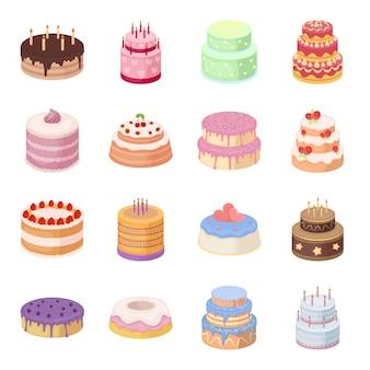 誕生日ケーキのイラスト。甘いとチョコレートのカップケーキ漫画セットアイコン。分離された漫画セットアイコンの誕生日ケーキ。