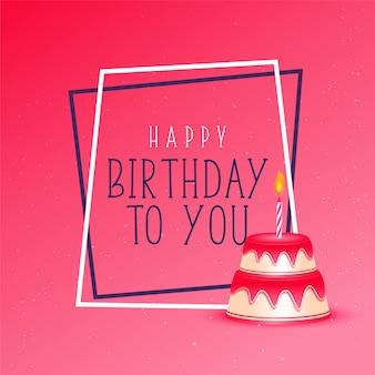 ピンクの背景に誕生日ケーキ