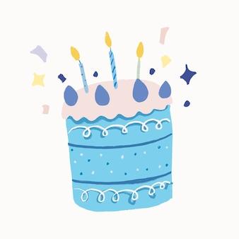 Birthday cake sticker, cute element graphic vector