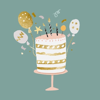Birthday cake sticker, cute gold and pastel vector