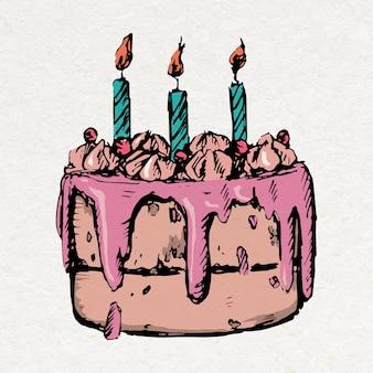 다채로운 빈티지 스타일의 생일 케이크 스티커