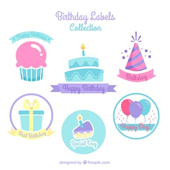 Birthday cake stickers with other elements