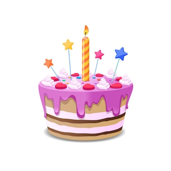 Торт на день рождения . сладкий кремовый пирог со свечами иллюстрации