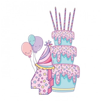 풍선과 숫자 생일 케이크