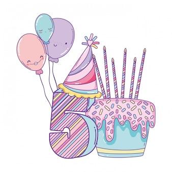 風船と番号の誕生日ケーキ