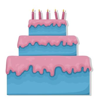 불타는 촛불 평면 일러스트와 함께 생일 케이크