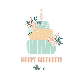 촛불과 꽃 생일 케이크 boho 색상 스타일로 생일 축하 인사말 카드 디자인